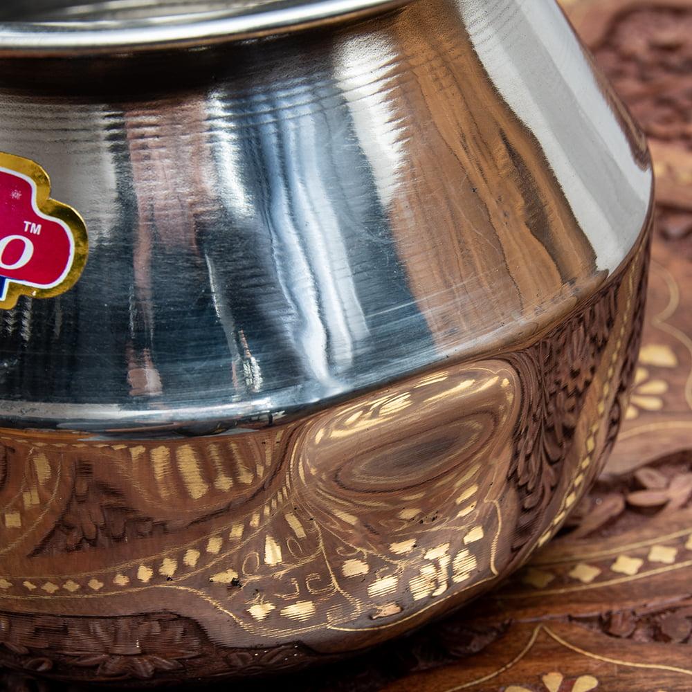 [インド品質]ステンレスのビリヤニ鍋 3人分以上サイズ(1800cc) 6 - 大きめの凹みがあるのでお値引きでのご提供となります。