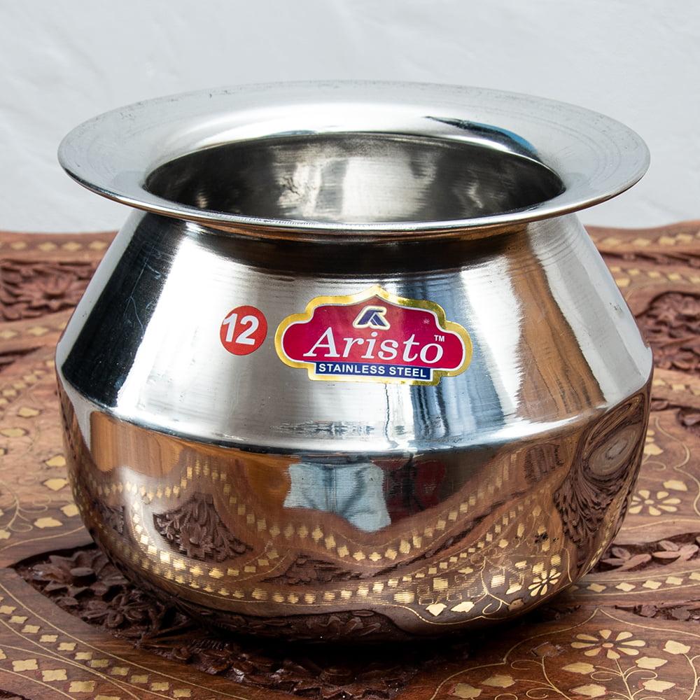 [インド品質]ステンレスのビリヤニ鍋 3人分以上サイズ(1800cc)の写真