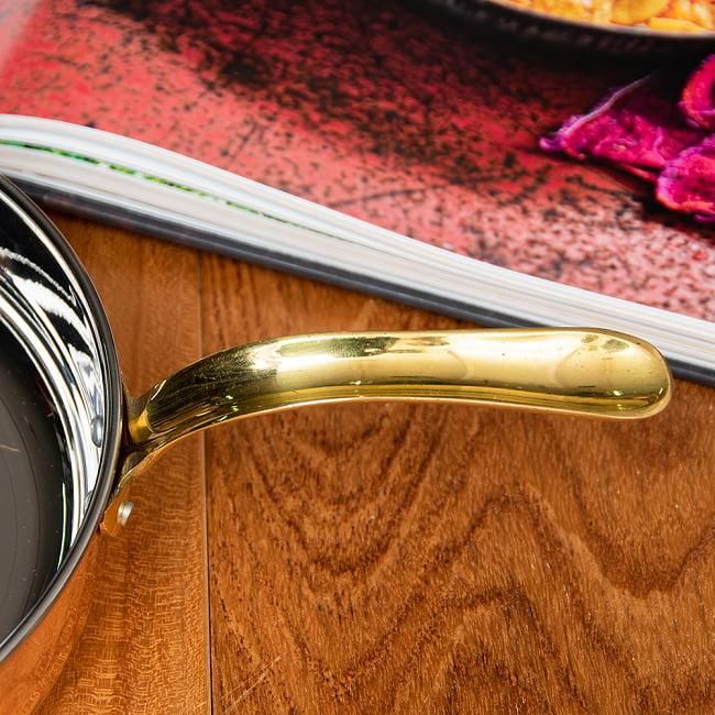 銅装飾のロイヤルフライパン(約19cm×4.5cm) 5 - 持ち手の部分もとても綺麗なフォルム