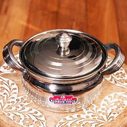取っ手付きクリシュナポット- インドの鍋・ハンディ【直径約15cm】