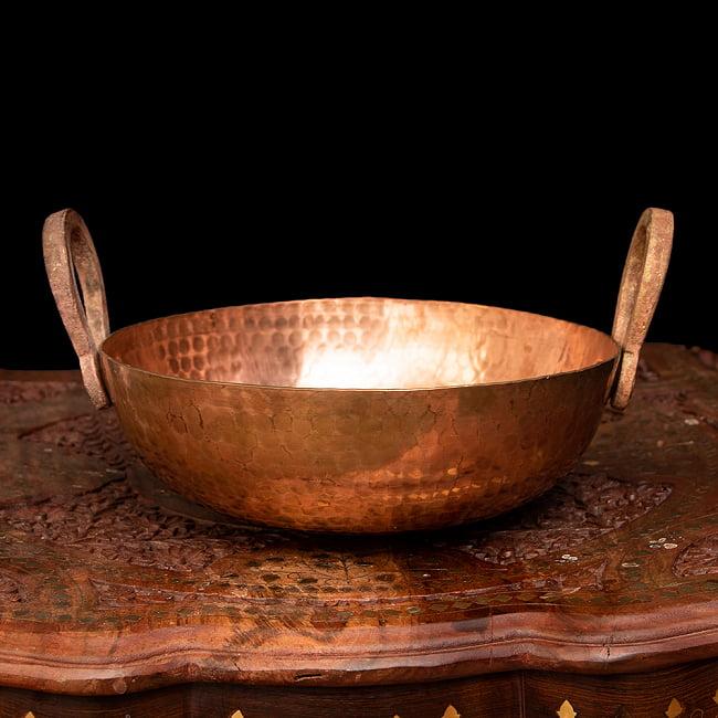 槌目仕立て高級調理用カダイ 銅製 - 直径23.5cmの写真