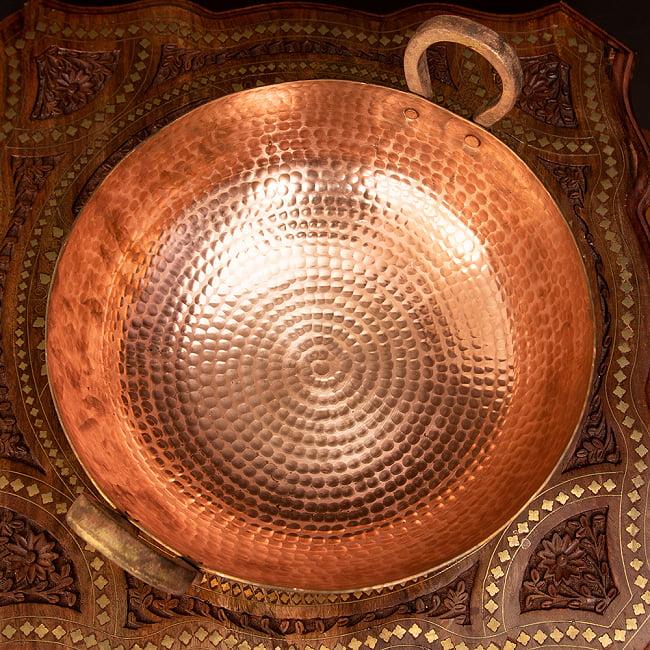 槌目仕立て高級調理用カダイ 銅製 - 直径31.5cm 4 - 上から見てみました。