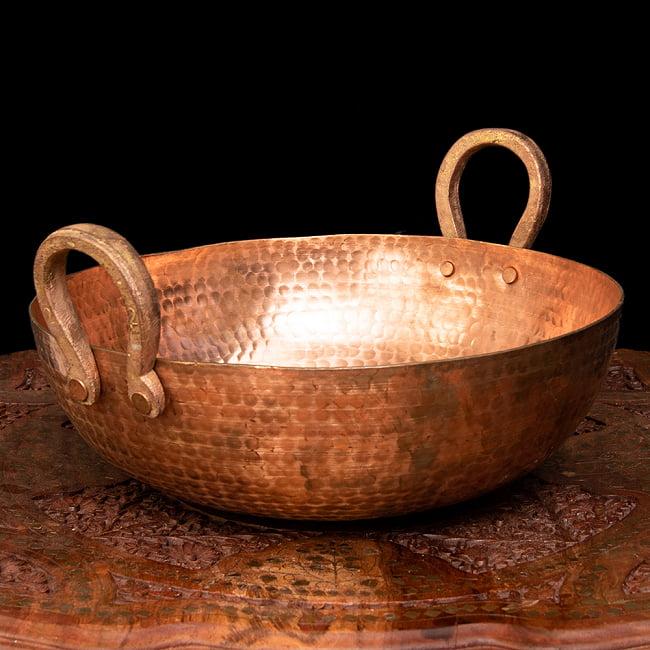 槌目仕立て高級調理用カダイ 銅製 - 直径31.5cmの写真
