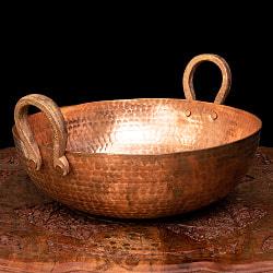 槌目仕立て高級調理用カダイ 銅製 - 直径31.5cmの商品写真