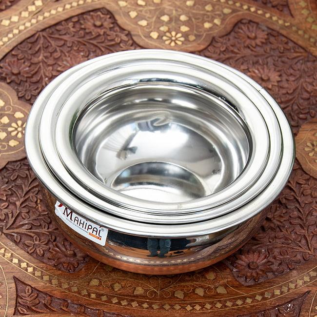 ワケアリ・重ねられるハンディセット - インドの鍋3個セット 2 - このように3つ重ねて収納することができます。