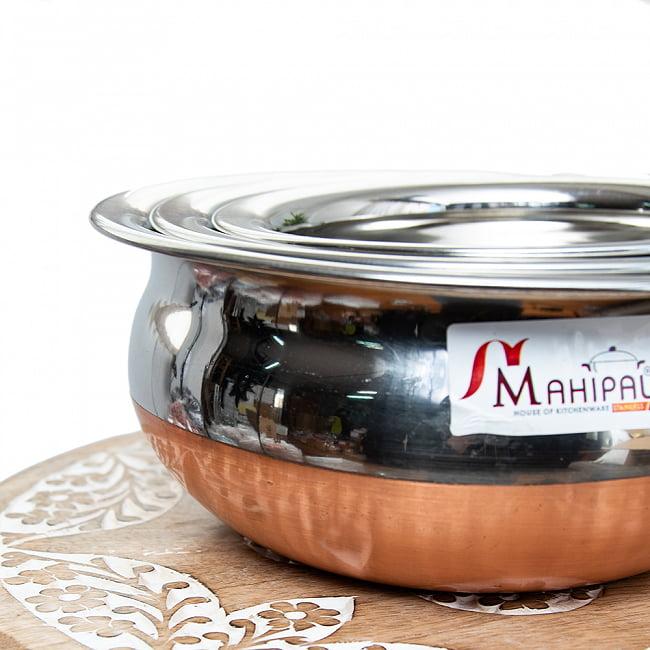 ワケアリ・重ねられるハンディセット - インドの鍋3個セット 3 - 丸みを帯びた形状がなんともかわいらしいです。