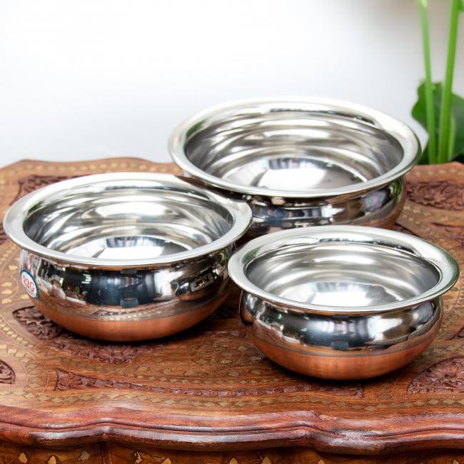ワケアリ・重ねられるハンディセット - インドの鍋3個セットの写真