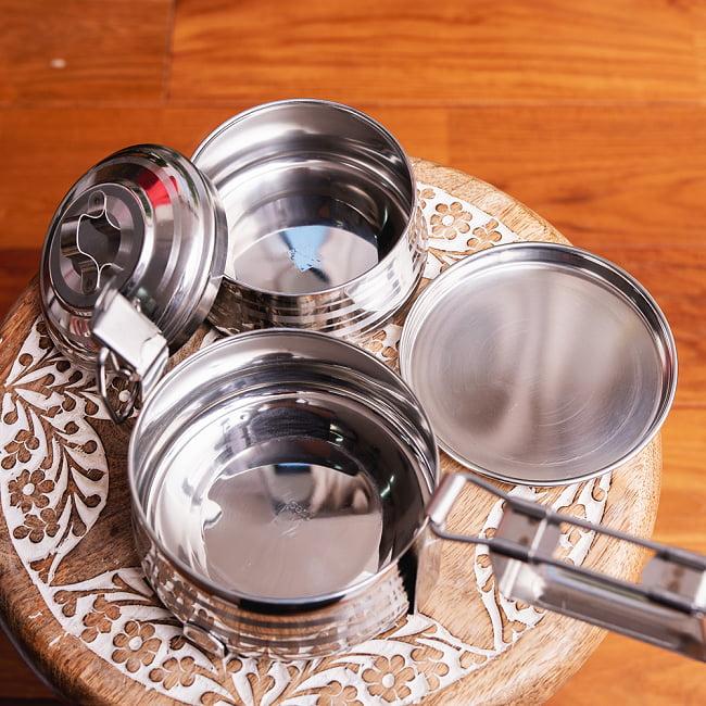 【2段】インドのステンレス弁当箱[17cm] 8 - 2段めはこちら