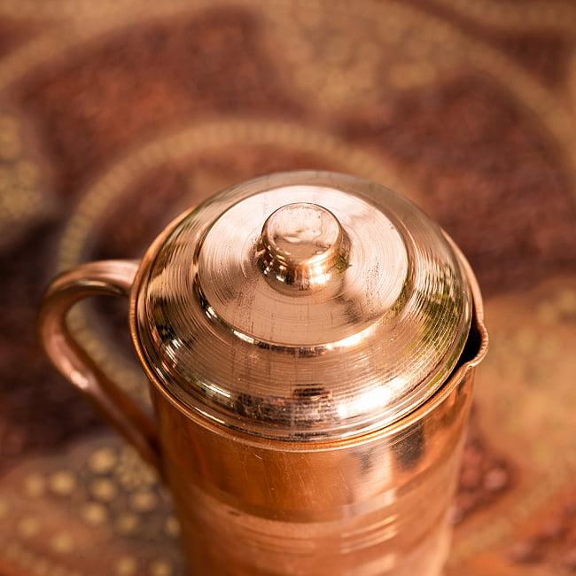 銅製水差し アーユルヴェーダやヨガに使われる ウォータージャグ・ピッチャー〔約1600ml〕 6 - 上部の写真です底面です