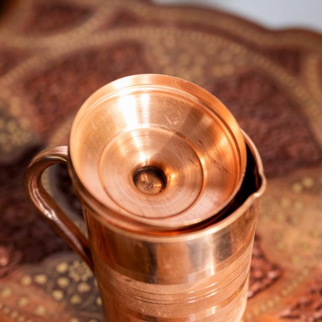 銅製水差し アーユルヴェーダやヨガに使われる ウォータージャグ・ピッチャー〔約1600ml〕 7 - 蓋裏面です
