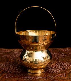 インドの水差し ブラス製 取っ手付き 23cmの商品写真