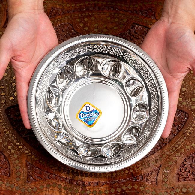 ペイズリーエンボスのアルミ皿【直径:21.5cm 約1300ml】 2 - 最大容量が約1.3Lと、結構大きめのボウルです。