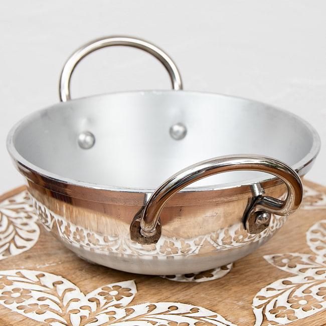 インドの食器&鍋 アルミニウム カダイ 【直径19cm】 3 - 持ち手部分です。