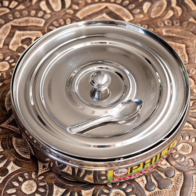 中ぶた付き 外蓋シースルー円形スパイスボックス 7種類のスパイスを入れられる![直径約21cm] 9 - 内蓋も付いています
