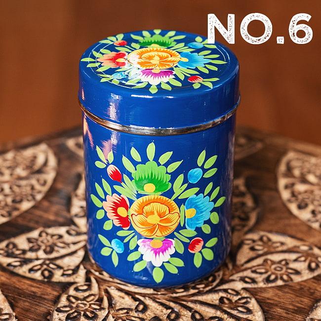 手描きカシミールペイントのケース 茶筒 スパイスケース レトロテイストな更紗模様〔直径:約6.3cm x 高さ:約9.7cm〕 16 - 〔No.6〕更紗ネイビー系