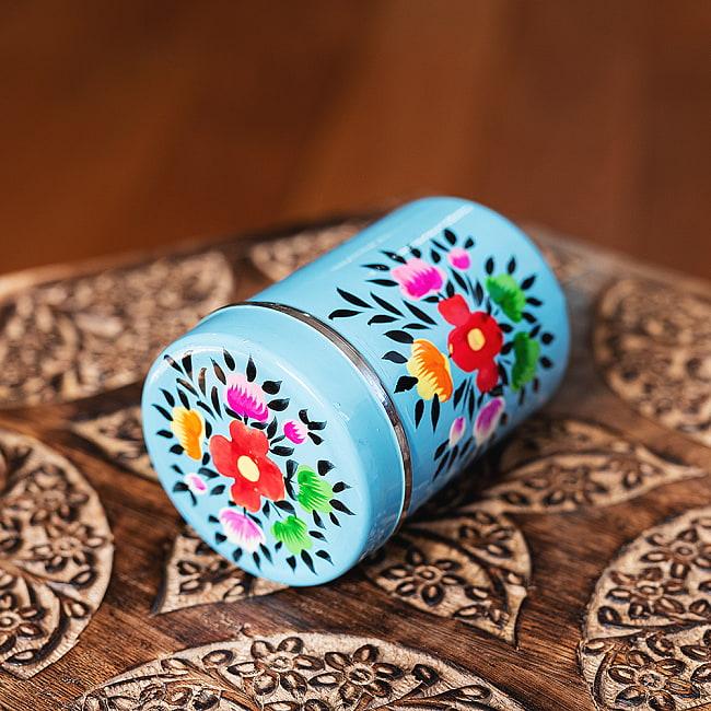 手描きカシミールペイントのケース 茶筒 スパイスケース レトロテイストな更紗模様〔直径:約6.3cm x 高さ:約9.7cm〕 3 - とても素敵な雰囲気です
