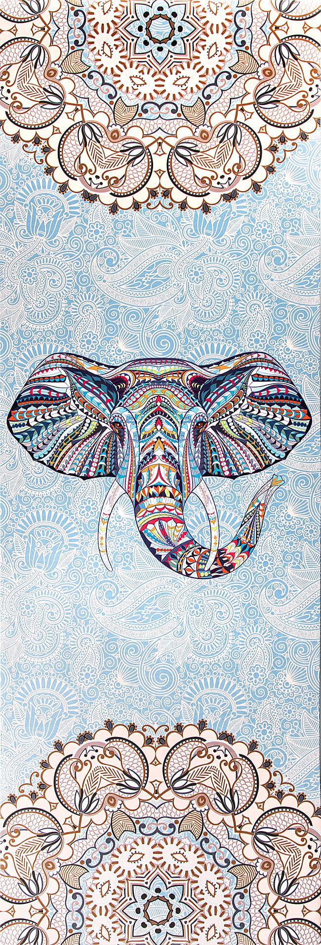 (天然ゴム)高品質エスニックヨガマット4mm - AFRICAN ELEPHANT 2 - 全体写真です