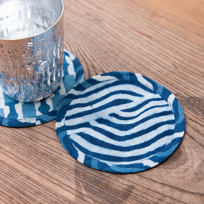 【4枚セット】アジュラック布の手造りコースター リバーシブル サークル 5 - 3:青 リバーシブル