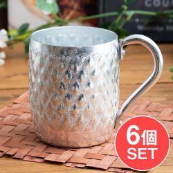 【送料無料・6個セット】タイの飾りつきエンボス・アルミコップ【約9cm×11cm】