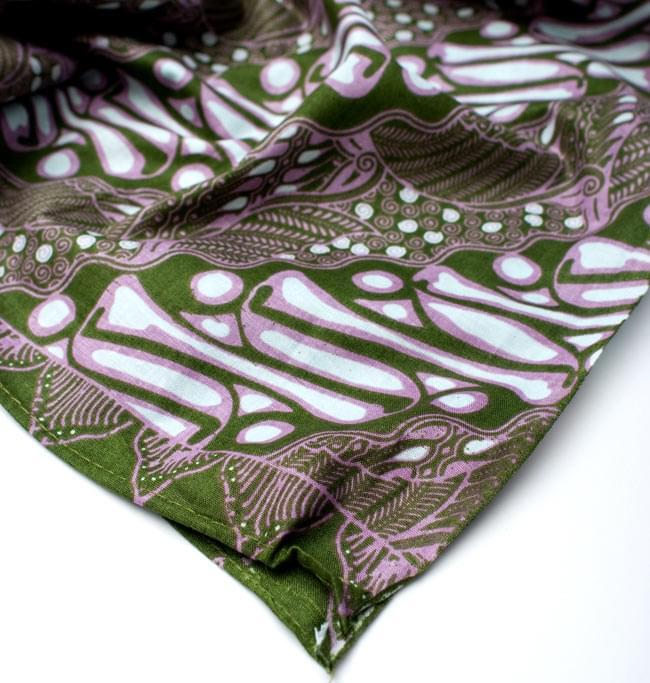 〔215cm*100cm〕インドネシア伝統!コットンバティック - 緑・王宮模様の写真5 - フチ部分の拡大写真です