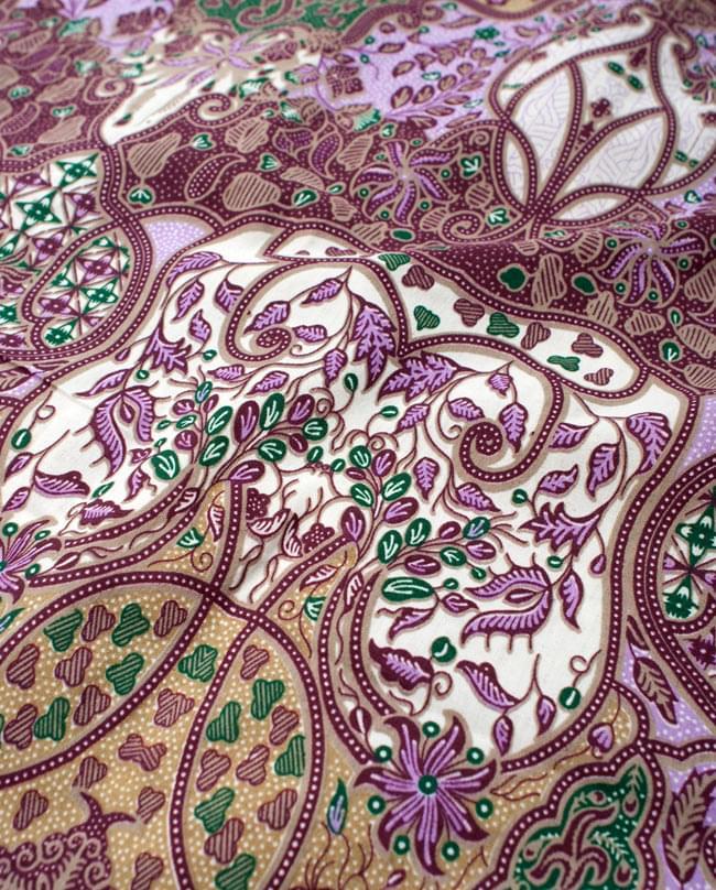 〔160cm*115cm〕インドネシア伝統!コットンバティック - 紫・更紗の写真3 - 拡大写真です