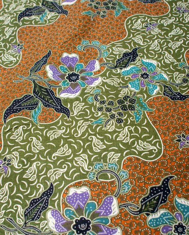 〔210cm*110cm〕インドネシア伝統!コットンバティック - 黄土×緑・更紗の写真3 - 拡大写真です