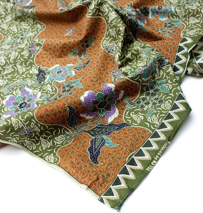 〔210cm*110cm〕インドネシア伝統!コットンバティック - 黄土×緑・更紗の写真5 - フチ部分の拡大写真です