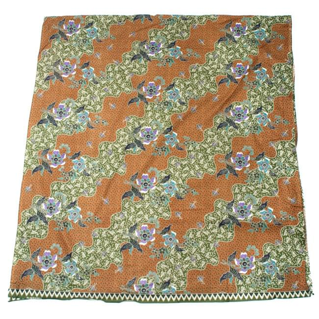 〔210cm*110cm〕インドネシア伝統!コットンバティック - 黄土×緑・更紗の写真