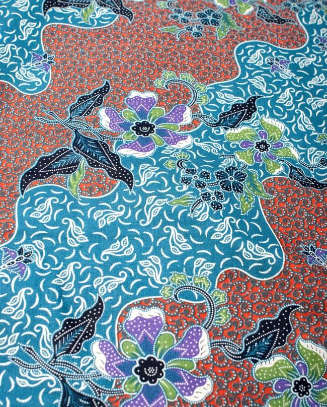〔210cm*110cm〕インドネシア伝統!コットンバティック - 橙色×青・更紗の写真3 - 拡大写真です