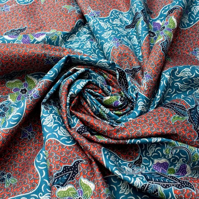 〔210cm*110cm〕インドネシア伝統!コットンバティック - 橙色×青・更紗の写真4 - 布をクシュクシュっとしてみました