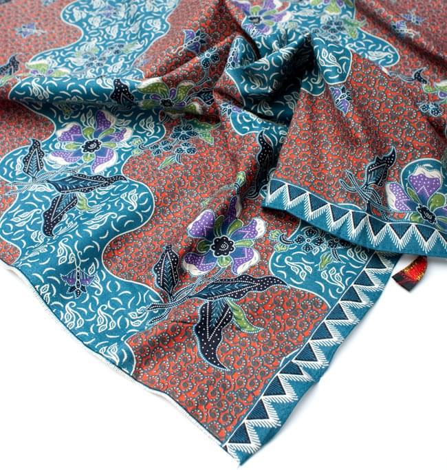 〔210cm*110cm〕インドネシア伝統!コットンバティック - 橙色×青・更紗の写真5 - フチ部分の拡大写真です