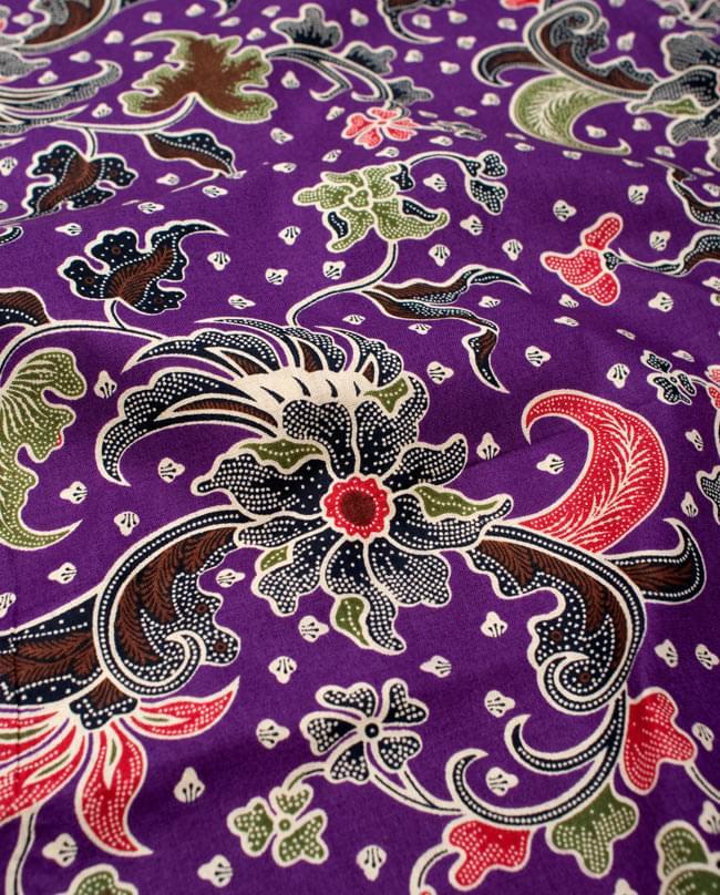 〔215cm*100cm〕インドネシア伝統!コットンバティック - 紫・花更紗の写真3 - 拡大写真です