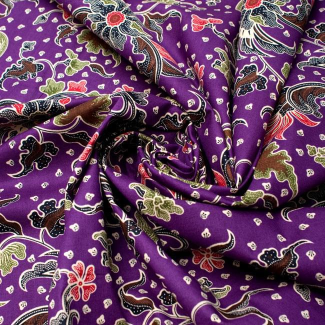 〔215cm*100cm〕インドネシア伝統!コットンバティック - 紫・花更紗の写真4 - 布をクシュクシュっとしてみました