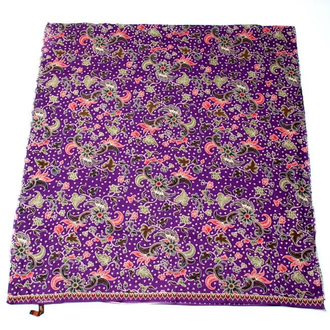 〔215cm*100cm〕インドネシア伝統!コットンバティック - 紫・花更紗の写真