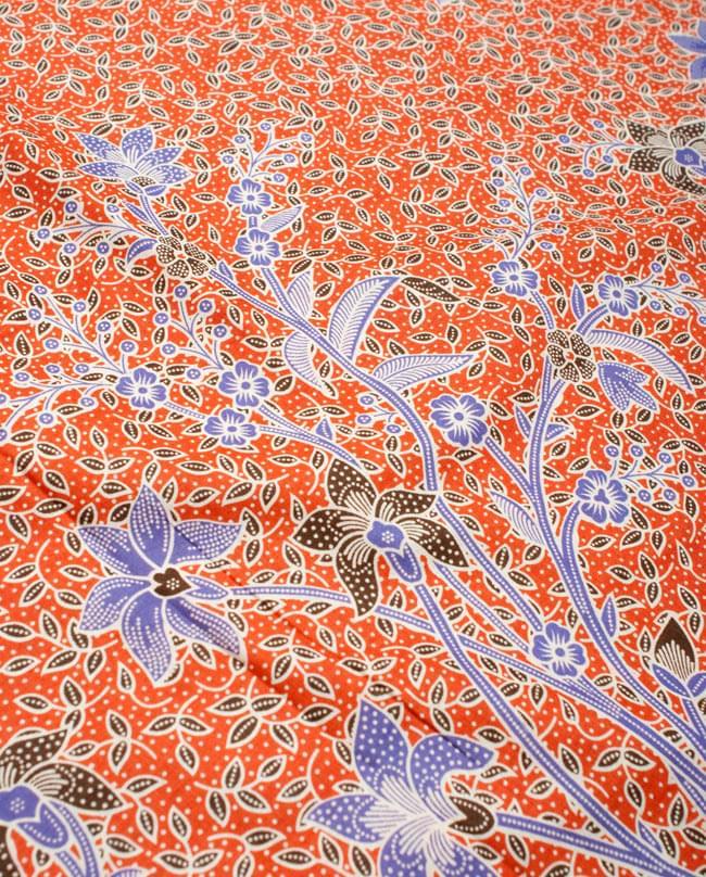 〔210cm*110cm〕インドネシア伝統!コットンバティック - 橙色・花更紗の写真3 - 拡大写真です