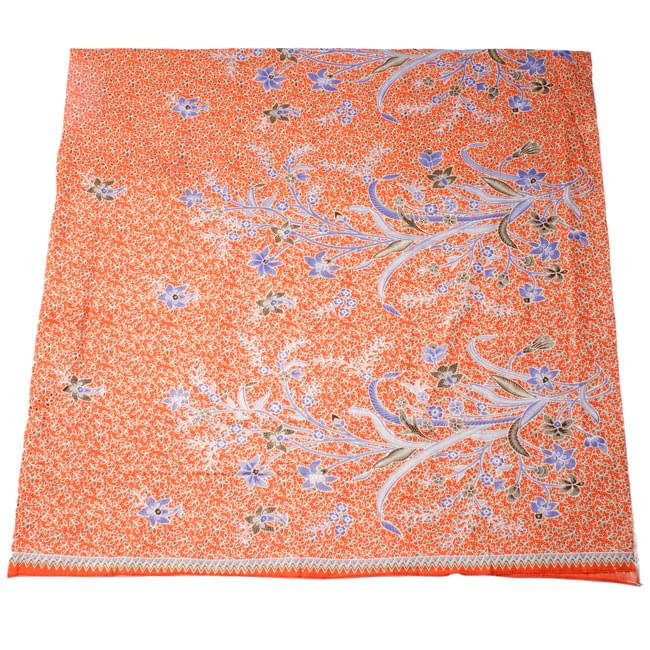 〔210cm*110cm〕インドネシア伝統!コットンバティック - 橙色・花更紗の写真