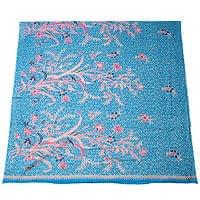 〔210cm*110cm〕インドネシア伝統!コットンバティック - 水色・花更紗