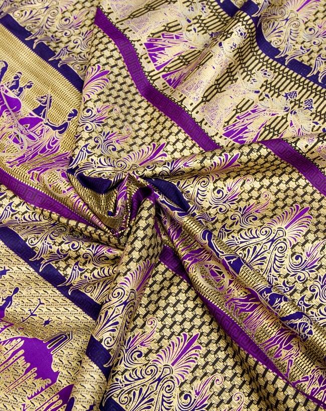 〔190cm*120cm〕インドネシア伝統のコットンバティック - 紫色・民族模様 4 - 布をクシュクシュっとしてみました