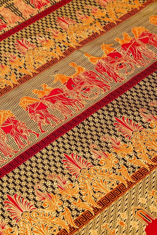 〔190cm*120cm〕インドネシア伝統のコットンバティック - 赤色・民族模様 3 - 拡大写真です