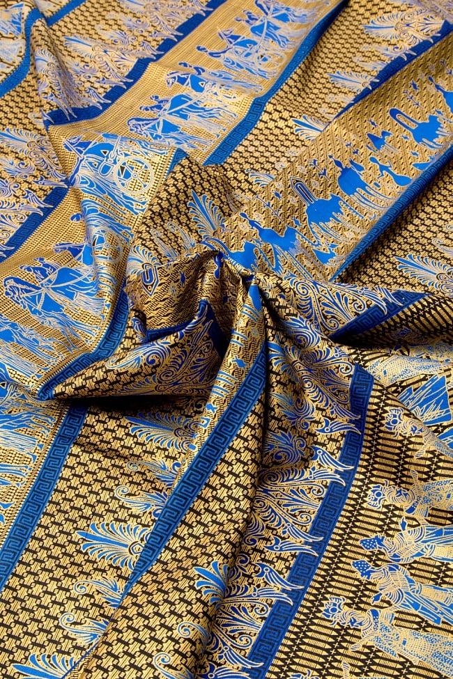 〔190cm*120cm〕インドネシア伝統のコットンバティック - 青色・民族模様 4 - 布をクシュクシュっとしてみました