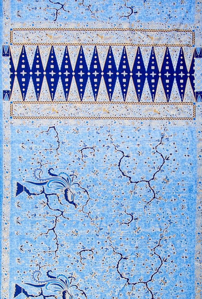 〔170cm*115cm〕インドネシア伝統のコットンバティック - 青色・孔雀の写真