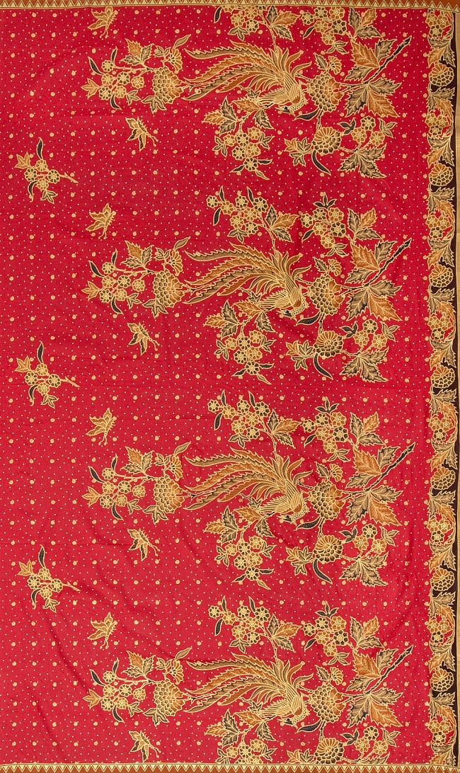 〔185cm*110cm〕インドネシア伝統のコットンバティック - 赤・孔雀と牡丹の写真