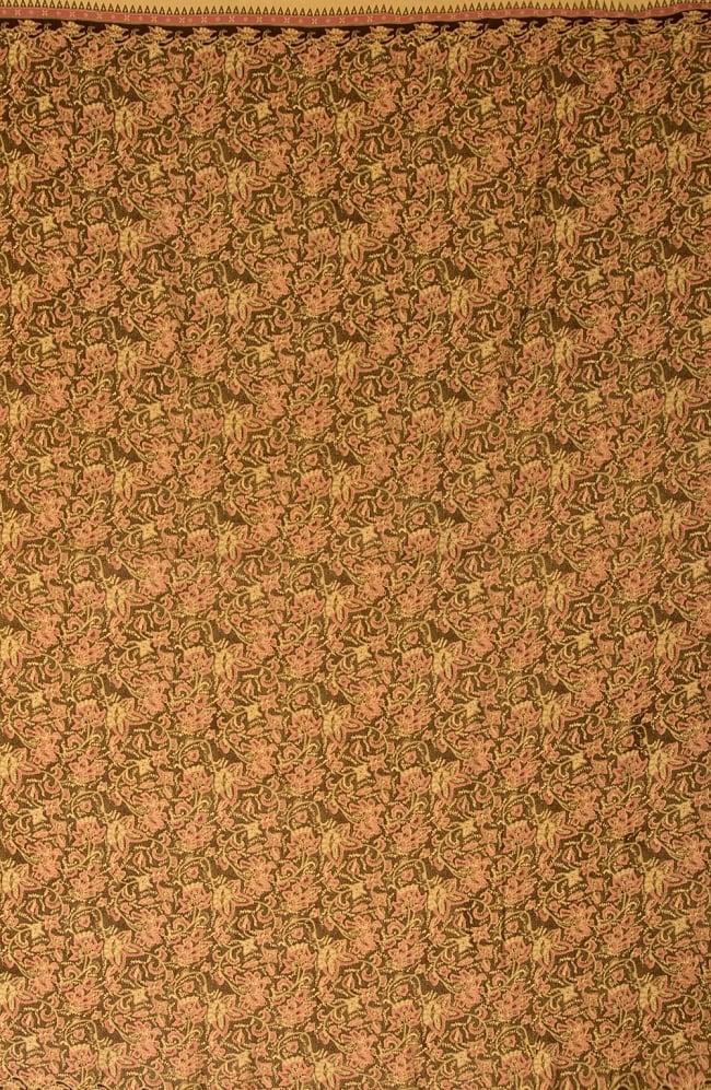 〔190cm*120cm〕インドネシア伝統のコットンバティック - 茶色・花更紗(花がピンク)の写真