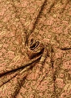 〔190cm*120cm〕インドネシア伝統のコットンバティック - 茶色・花更紗(花がピンク)