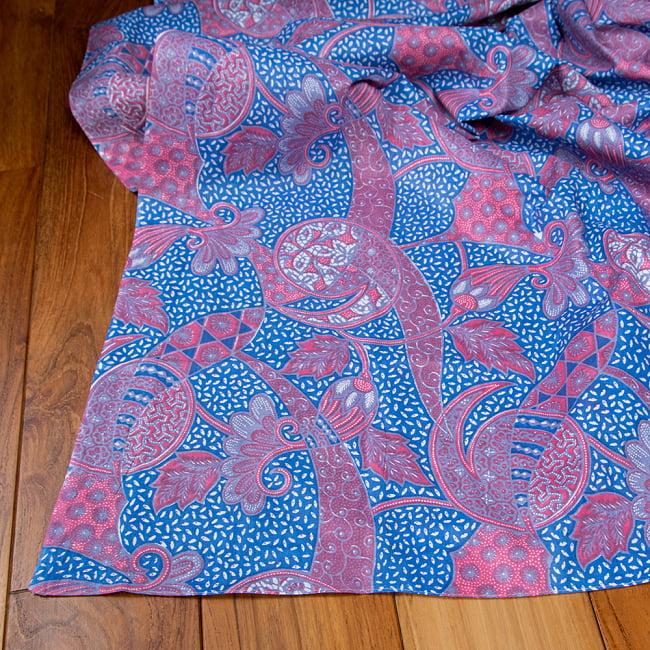 インドネシア伝統模様 ろうけつ染めデザインのコットンバティック〔203cm*107cm〕 5 - フチ部分の拡大写真です