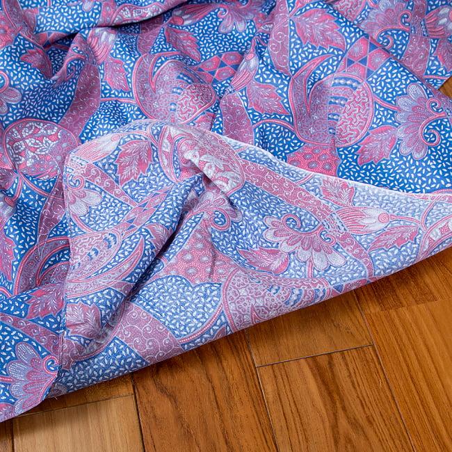 インドネシア伝統模様 ろうけつ染めデザインのコットンバティック〔203cm*107cm〕 8 - 裏面はこのような感じです