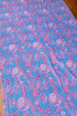 インドネシア伝統模様 ろうけつ染めデザインのコットンバティック〔203cm*107cm〕
