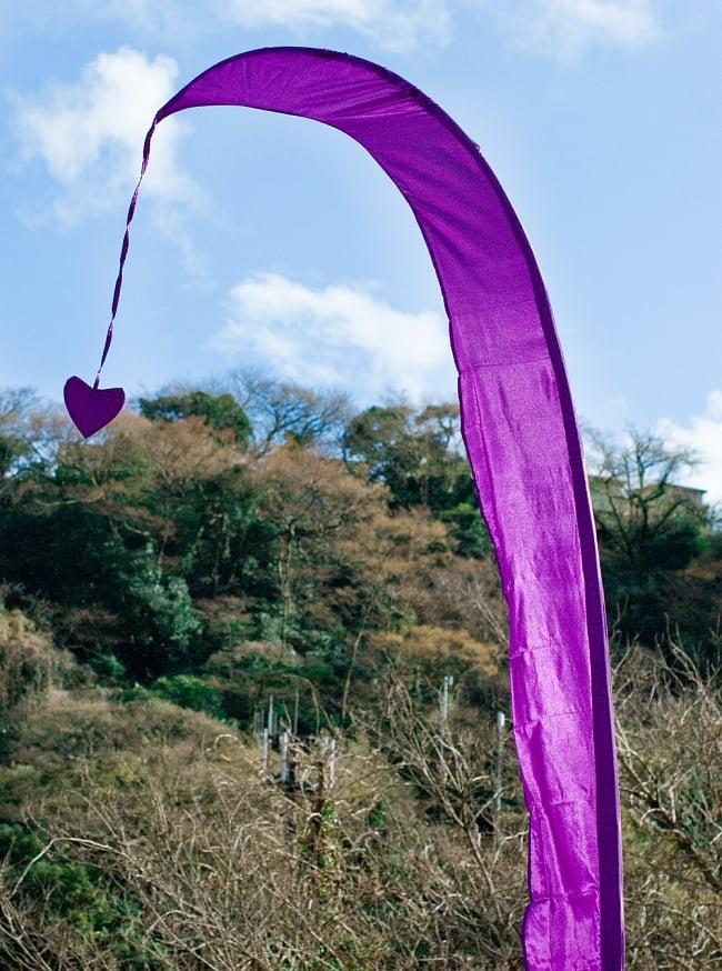 [パープル]カラフルプリント - ウンブル・ウンブル(バリのぼり旗)【約220cm】の写真