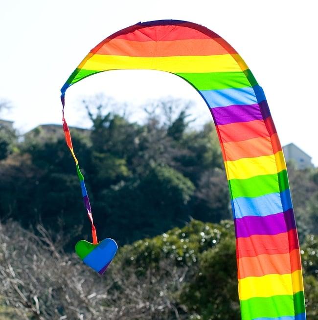 [レインボー]カラフルプリント - ウンブル・ウンブル(バリのぼり旗)【約220cm】 2 - 先端部分の拡大写真になります