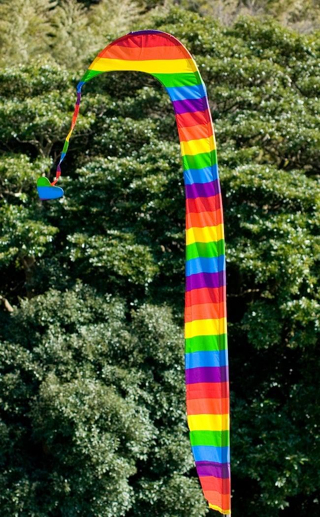 [レインボー]カラフルプリント - ウンブル・ウンブル(バリのぼり旗)【約220cm】の写真